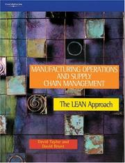 Cover of: Manufacturing Operations and Supply Chain Management