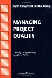 Cover of: Managing Project Quality (Project Management Essential Library) (Project Management Essential Library)