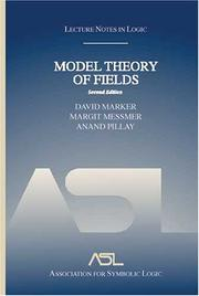 Cover of: Model Theory of Fields, Second Edition (Lecture Notes in Logic) (Lecture Notes in Logic)
