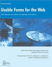 Cover of: Usable Forms for the Web