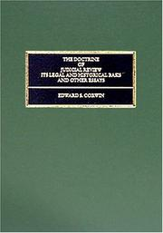 Cover of: The doctrine of judicial review: its legal and historical basis, and other essays.