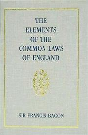 Cover of: The elements of the common lawes of England
