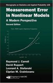 Cover of: Measurement Error in Nonlinear Models