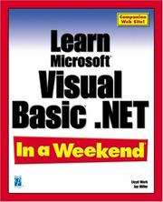 Cover of: Learn Microsoft Visual Basic .NET In a Weekend (In a Weekend (Indianapolis, Ind.).)