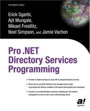 Cover of: Pro .NET Directory Services Programming