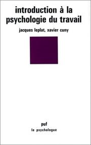 Cover of: Introduction à la psychologie du travail