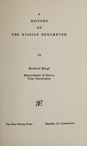 Cover of: A history of the Russian hexameter