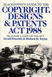 Cover of: Blackstone's Guide to the Copyright, Designs and Patents ACT, 1988 (Blackstone's Guide)