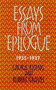 Cover of: Essays from Epilogue 1935-1937 (Lives & Letters: the Millennium Graves)