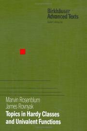 Cover of: Topics in Hardy Classes and Univalent Functions (Birkhäuser Advanced Texts / Basler Lehrbücher)