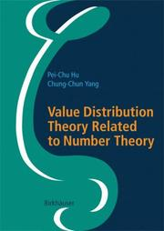 Cover of: Value Distribution Theory Related to Number Theory