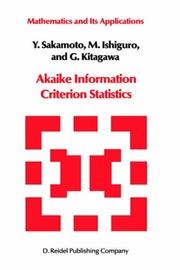 Cover of: Akaike Information Criterion Statistics (Mathematics and its Applications)