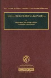 Cover of: Intellectual Property Law In China (Max Planck Series on Asian Intellectual Property Law)