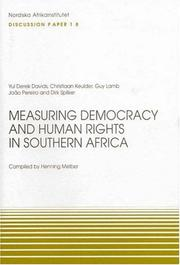 Cover of: Measuring Democracy and Human Rights in Southern Africa