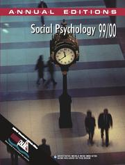 Cover of: Social Psychology 1999-2000 (Annual Editions)