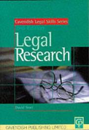 Cover of: Legal Research (Legal Skills Series)
