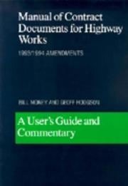 Cover of: Manual of Contract Documents for Highway Works
