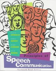 Cover of: Principles of Speech Communication, Brief Edition