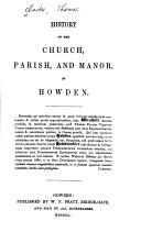 Cover of: History of the Church, Parish and Manor of Howden
