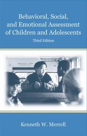 Cover of: Behavioral, Social, and Emotional Assessment of Children and Adolescents