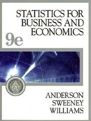 Cover of: Statistics for Business and Economics, Ninth Edition