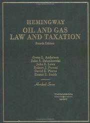 Cover of: Hemingway Oil and Gas Law and Taxation