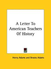 Cover of: A Letter to American Teachers of History