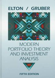Cover of: Modern Portfolio Theory Fifth Edition and Portfolio Software Set