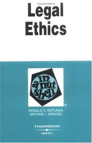 Cover of: Legal Ethics in a Nutshell