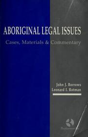 Cover of: Aboriginal legal issues