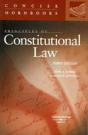 Cover of: Principles of Constitutional Law Concise Hornbook