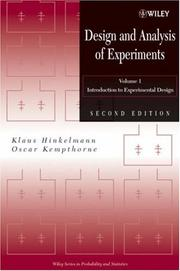 Cover of: Design and Analysis of Experiments, Introduction to Experimental Design (Wiley Series in Probability and Statistics)