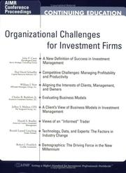Cover of: Organizational Challenges for Investment Firms
