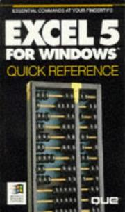 Cover of: Excel Version 5 for Windows Quick Reference (Que Quick Reference)