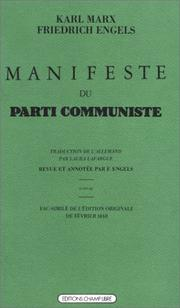 Cover of: Manifeste du Parti Communiste