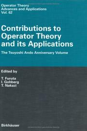 Cover of: Contributions to Operator Theory and its Applications: The Tsuyoshi Ando Anniversary Volume (Operator Theory: Advances and Applications)
