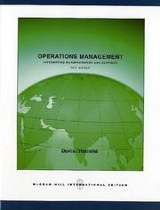 Cover of: Operations Management