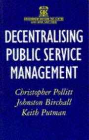 Cover of: Decentralising Public Service Management (Government Beyond the Centre)