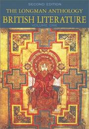 Cover of: The Longman Anthology of British Literature, Volume I