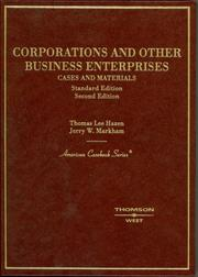 Cover of: Corporations and Other Business Enterprises, Cases and Materials, 2nd Ed. (American Casebook Series)