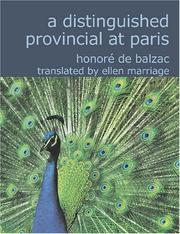 Cover of: A Distinguished Provincial at Paris: (Lost Illusions Part II)