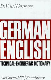 Cover of: German-English Technical and Engineering Dictionary