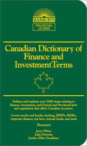 Cover of: Canadian Dictionary of Finance and Investment Terms (Barron's Business Dictionaries)