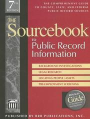 Cover of: The Sourcebook to Public Record Information, Seventh Edition (Sourcebook to Public Record Information)