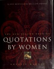 Cover of: The new Beacon book of quotations by women