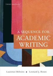 Cover of: Sequence for Academic Writing, A (3rd Edition)