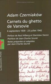 Cover of: Carnets du ghetto de Varsovie