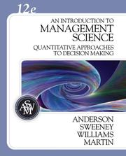 Cover of: An Introduction to Management Science