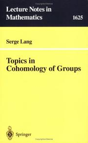 Cover of: Topics in cohomology of groups