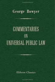 Cover of: Commentaries on Universal Public Law